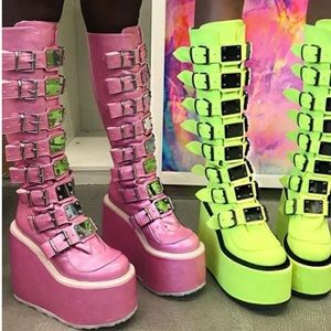 4ee4ea11e40 Demonia Shoes - 💕NIB Demonia PInk Trinity Platform Boots 9M